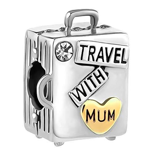 Korliya - Abalorio para pulsera, diseño de maleta con texto 'Travel with Mum'