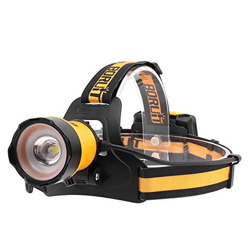 Linterna LED de noche de pesca de la cabeza montada linterna faro cabeza desgaste luz multifuncional impermeable para acampar al aire libre amarillo luces de camping