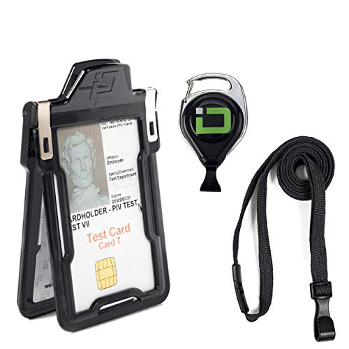 Secure Badgeholder Classic and Lanyard Combo with IDSH Badge Reel (Black/Black with Reel)