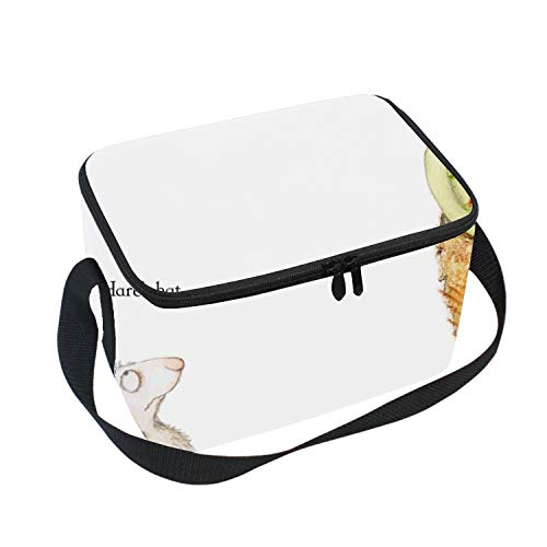 Reusable Lunch Bags Bear Hare Go Fishing Insulated Waterproof Lunch Box for Women Kids
