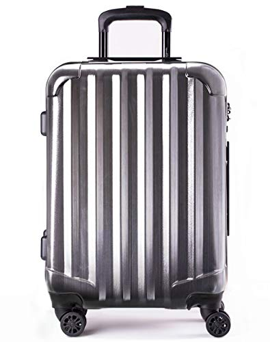 Genius Pack Hardside Luggage Spinner - Smart, Organized, Lightweight Suitcase - TSA Approved Cabin Size (Supercharged - Brushed Chrome)