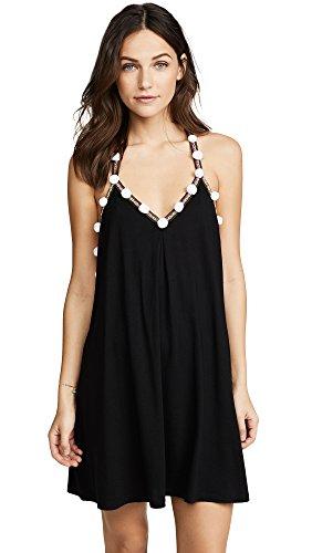 Pitusa Women's Pom Pom Dress, Black, One Size