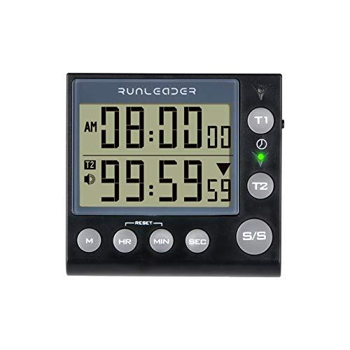 Jayron KT002 Temporizador de 2 canales con reloj despertador temporizador de cocina despertador digital Minute/segundo temporizador reloj de escritorio reloj eléctrico para cocinar