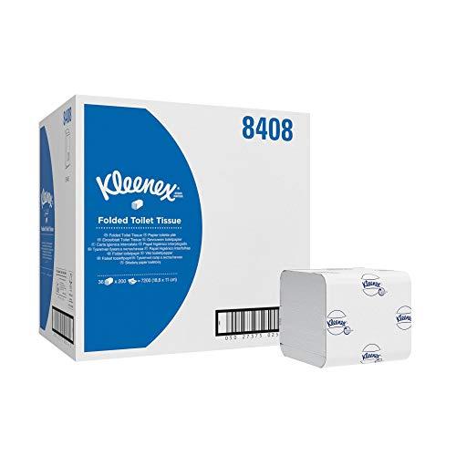 Kleenex 8408 Papier toilette plié 2 épaisseurs, 36 paquets de 200 feuilles, Pour distributeurs Aquarius compatibles, Blanc, Mega Pack, 08408110