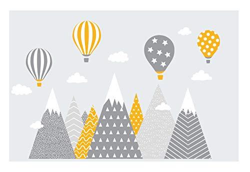 wandtattoo kinderzimmer berge Nordic Bergen Aufkleber Wandaufkleber Kind Baby Kindergarten Zimmer Gebirge luftballons Ballons Ballon Wolken Wolke Landschaft Wanddeko Baby Kinder Sticker G15XL