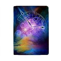 パスポートカバー スキミング防止 本革 パスポートケース 出張 旅行 カードパッケージ 旅行便利グッズ 多機能 旅券ケース 融合した時計の文字盤の抽象的な背景 男女兼用