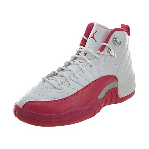Nike Mädchen Air Jordan 12 Retro GG Basketballschuhe, Weiß Pink Silber Weiß Vivid Pink Mtllc Silber, 38 EU