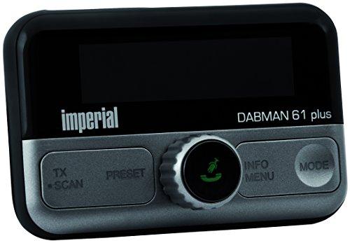 Imperial 22-165-00 DABMAN 61 plus mobiele DAB+-ontvanger (FM-zender voor auto/vrachtwagen, Bluetooth 4.2 voor smartphones/tablet, microSD-kaartlezer, diverse houders; plakstrip) zwart