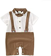 Toddler/Baby Boys Gentleman Outfits Suits Toddler Infant Short Sleeve Shirt+Bib Pants+Bow Tie Overalls Clothes Set(3-6M) Brown