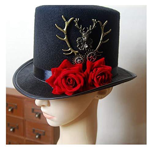 XIEQUN Steampunk Gear & Deer Head Zylinder Retro Gothic Lolita Fedoras Hüte mit Rose Flower (Color : Black, Size : 57cm)