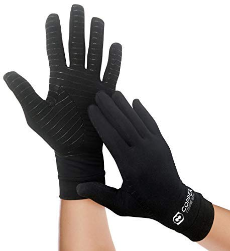 Copper Compression Full Finger Arthritis Gloves. Highest Copper Content Guaranteed. Copper Provides Added Protection. Best Copper Infused Fit Glove for Carpal Tunnel, Computer Typing, Support (Small)