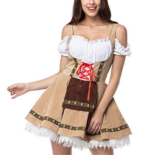 LCXYYY Damen Kostüme Elegant Sexy Retro Dirndlkleid Bluse Costumes Trachtenkleid mit Stickerei Trägerlos Korsage Spitze Rüschen Kleid Traditionelle Bayerische Oktoberfest-Kleidung Karneval Fasching