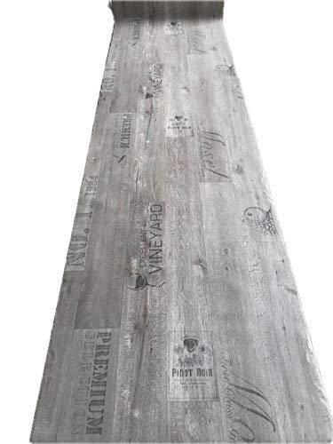 Alfombra PVC vinilo H 100 cm suelo cocina tienda efecto madera gris envejecido vino