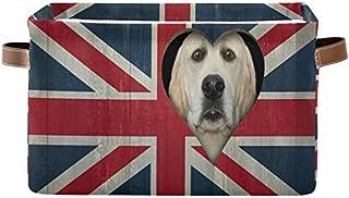 DOSHINE Panier de rangement pliable avec poignées Motif chien et drapeau britannique Grand panier à linge pour organiser l...
