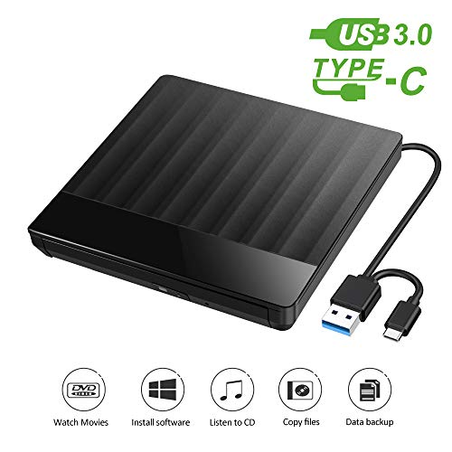 External CD DVD Drive Burner, Type-C and USB 3.0 DVD/CD Player for Laptop,MacOS, Desktop, Win 10/8/7 / XP, Linux, iOS, Plug & Play