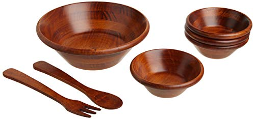 Lipper International Cherry Finished Round Rim Serving Bowls with Server Utensils, 7-Piece Set, Assorted Sizes