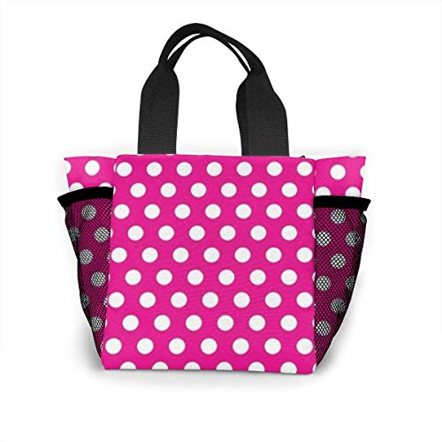 Tote Lunch Bag,Big White Dot Print Large Cooler Bag Container Thermal Cooler Pack Picnic Bag for Women&Men Travel Office Beach