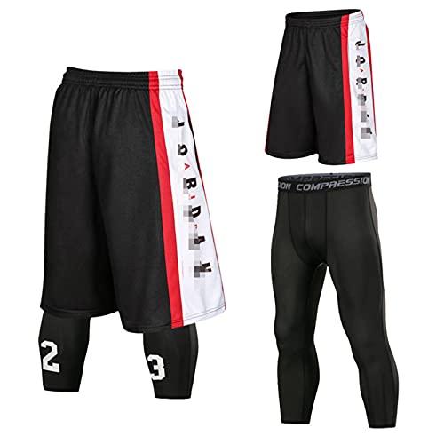 Mikelabo Pantalones cortos de baloncesto de la NBA para hombre, de verano, 3/4 Black-red-tz XXL