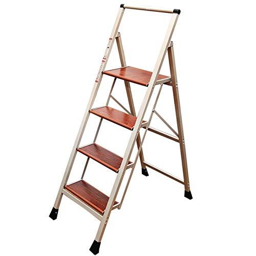 WHOJA Escalerilla Escalera de 4 peldaños con barandilla de Seguridad Capacidad de Carga de 150 kg Pedal Antideslizante de Madera Maciza para el hogar/Cocina/Garaje Ligera y Resistente