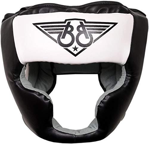KIKFIT Boxe Protezione Testa MMA Allenamento Sparring Caschetto Pelle Bovina Casco Integrale Protezione - Copricapo per Muay Thai, Arti Marziali, Kickboxing, Taekwondo, Karate, UFC - Bianco, L