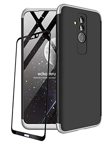 JOYTAG compatibles para Funda Huawei Mate 20 Lite Carcasa +Protectora de película de Vidrio Templado 360 Grados Ultra Delgado 3 en 1 Case-Plata Negro