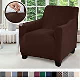 Gorilla Grip Original Fitted Velvet 1 Piece Chair Protector for Seat Width up to 23 Inch, Stretchy Furniture Slipcover, Fastener Straps, Spandex Chair Cover Throw for Pets, Dogs, Armchair, Chocolate