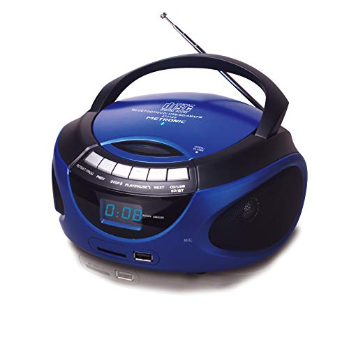 Metronic 477129 - Radio CD / MP3 portátil con Bluetooth, az