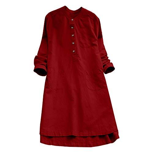 VJGOAL Damen Kleid, Damen Lässige Retro-Baumwolle und Leinen Knopf Lange Tops Bluse Lose Lange Ärmel Mini Hemd Kleid (Rot, 40)