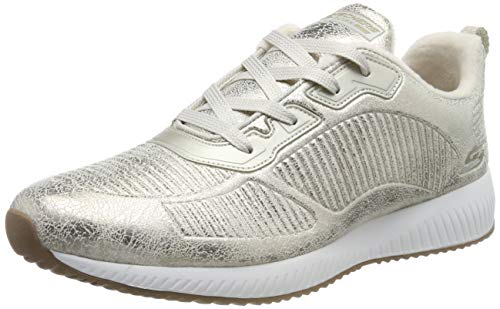 Skechers Womens BOBS SQUAD Trainers, Gold (Champagne Duraleather/Chenille Line Chmp), 4 UK (37 EU)