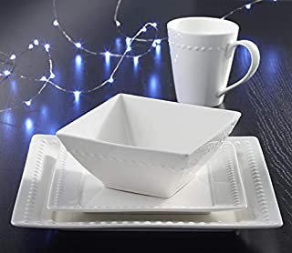 16-piece Fine Porcelain Dinnerware Set by Roscher | Service for Four (4), Ivory Hobnail Design, Includes Dinner Plates, Salad Plates, Bowls, and Cups, Square