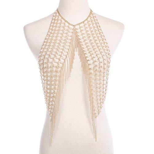 KERVINFENDRIYUN YY4 Dessous Kette Körper Kette Schmuck Sommer Sexy Nachtclub Handgemachte Perle Körper Kette Halskette Weibliche (Color : Gold)