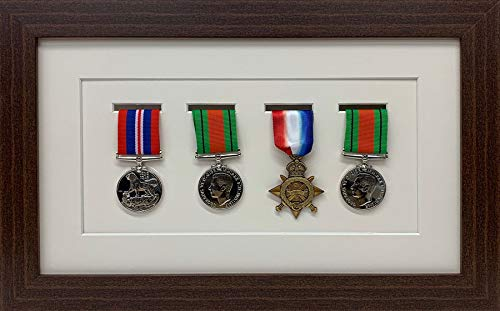 Kwik Picture Framing | Military/War/Sports Medal 3D Box Picture Frame Fits Four Medal - Mahagony Frame with Ivory Mount