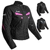 Women's Motorcycle Jacket For Women Stunt Adventure Waterproof Rain Jackets CE Armored Stella (Pink, M)