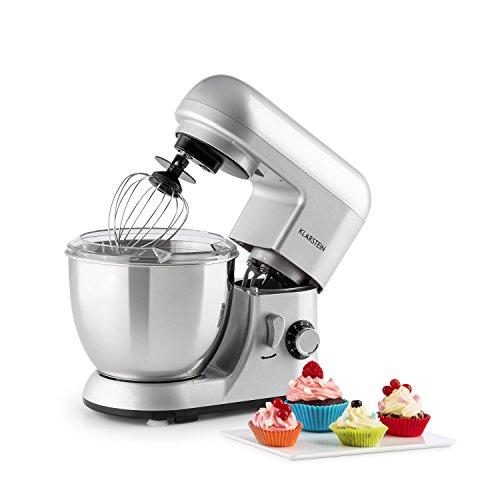 Klarstein Bella Pico Mini - Robot de cocina, Batidor, Amasador, 550 W Nominal, 800 W Pico Máx, 6 niveles, 4 Litros, Brazo multifunción, Sistema planetario, Acero inoxidable, Plata