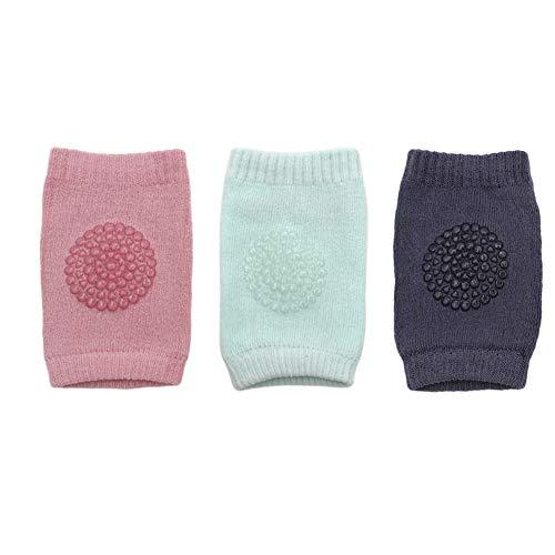 3 PCS Coque pour bébé Baby Genoux Coudières Genouillères Rampants de Sécurité Protection, Rose/Gris/Vert