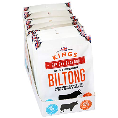 Kings Rib Eye Flavour Beef Biltong Box of 16 x 30 Grams
