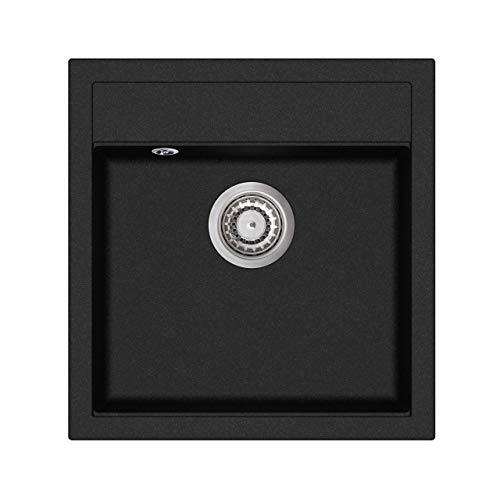 Granit Einbauspüle Küchenspüle Spülbecken Spüle inkl. Excenterbedienung eckig schwarz 51x 49 cm