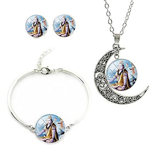 CLEARNICE Shiva Indian Art Collar Hindú Pendientes Pulseras Encantos De Cabujón De Cristal Conjuntos De Joyas Religiosas Longitud del Collar Aproximadamente 55 Cm + 5 Cm
