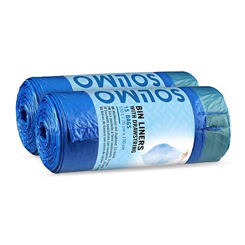 Marchio Amazon - Solimo Sacchetti spazzatura con chiusura a cordoncino - 120 Litri - 2 x 15 pezzi