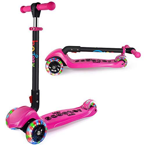 BELEEV Patinete de 3 Ruedas para Niños de 3 a 12 Años Scooter 3 Wheels con Luces LED, Barra Ajustable, Kick Scooter for Girl Boy(Rosa)