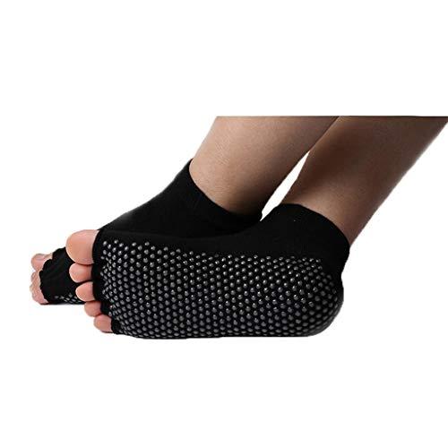 YQRJYB Dedo del pie con Punta Abierta Mujer Calcetines Calcetines Antideslizante Yoga Absorber el Sudor Espesar Fitness Transpirable aplicable en otoño e Invierno Cómodo (Color : Black A)