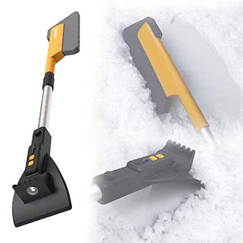 Roboraty Raspador de Hielo de la Pala del Cepillo de la Nieve de Los 78cm con La Luz y La Manija Telescópica para la Ventana de RV del Camión de SUV del Coche del Coche