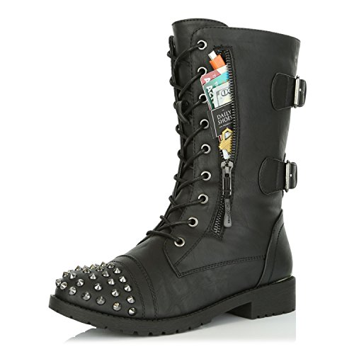 DailyShoes Women's Ankle Boots Combat Booties Low Heel Lace Up Zips Pocket Stud Buckles Rivets Punk Short Fashion Non Exclusive Credit Card Studded Bootie Timber-99 Black Pu 7.5