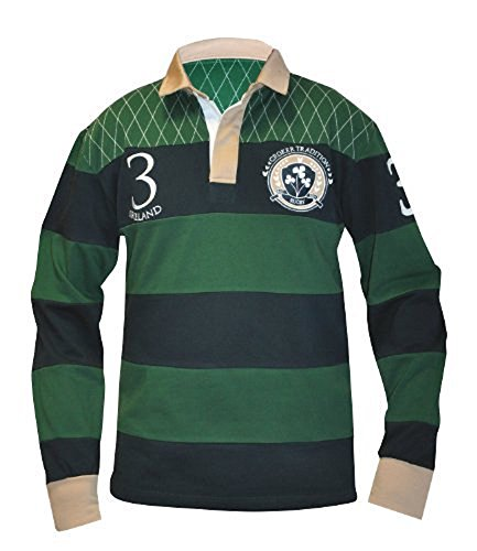 Croker Traditional Rugby Jersey, Green and Navy, X-Large