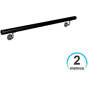 7hSevenOn Deco Pasamanos Barandilla 2 Metros Hierro Lacado con 2 Soportes Negro para Escalera: Amazon.es: Hogar