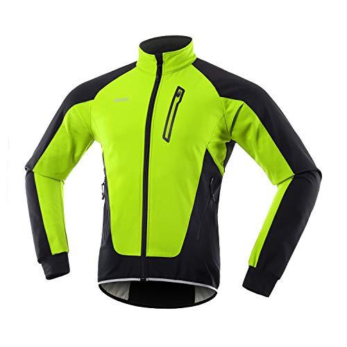 ARSUXEO Herren Winter Fahrradjacke Thermo-Vlies Softshell MTB Fahrrad Outwear Winddicht Wasserdicht 20B Grün XL