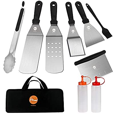 Griddle Accessories Set, Huolewa 9-Piece Commercial Grade Flat Top Grill Cooking Kit, Professional Grilling Spatulas Tool Utensils, Idea for Outdoor BBQ, Teppanyaki and Camping