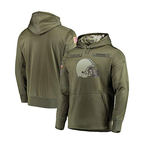 ZWTT Jersey con capucha para hombre Cleveland Browns, ropa deportiva, de algodón, transpirable, clásica, de manga larga, para fitness, tiempo libre verde oliva XXXL