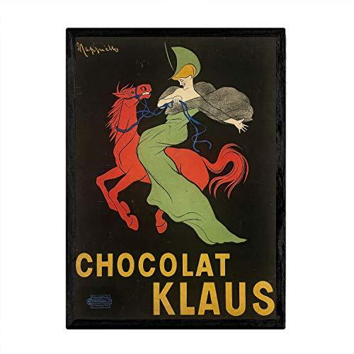 Nacnic Poster Vintage de Caballo - Chocolate. Láminas para Decorar Interiores con imágenes Vintage y de Publicidad Antigua. Cuadros decoración Retro. Tamaño A3 con Marco
