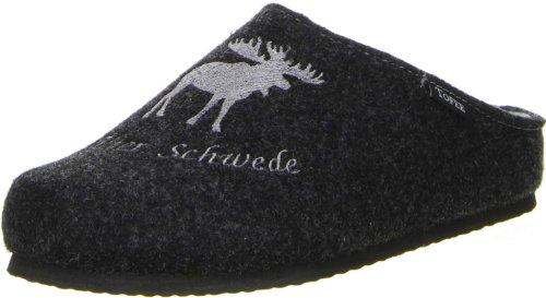 TOFEE Herren Hausschuhe Naturwollfilz (Alter Schwede) anthrazit, Größe:45, Farbe:Grau